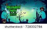 halloween party poster design ... | Shutterstock .eps vector #728332786