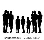 Isolated  Silhouette Family