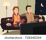 couple watching tv with... | Shutterstock .eps vector #728340334