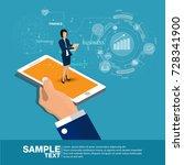 isometric mobile report... | Shutterstock .eps vector #728341900