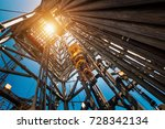 oil drilling rig operation on... | Shutterstock . vector #728342134