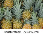 pile pineapple fruit which has... | Shutterstock . vector #728342698