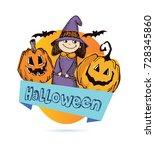 halloween hand drawn  doodle... | Shutterstock .eps vector #728345860