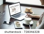Small photo of Casual woman in cafe searches for hotel on laptop, planning vacation online. Tourist using search engine to find accommodation during trip. Finding best offer for apartment, hotel or motel. Side view.