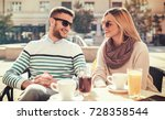 flirting in a cafe. beautiful... | Shutterstock . vector #728358544