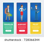 flat people in airport banners... | Shutterstock .eps vector #728366344