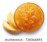 Bowl Of Peach Jam Isolated On...