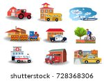 means of transport and their... | Shutterstock .eps vector #728368306