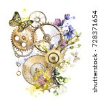 steam punk watercolor... | Shutterstock . vector #728371654