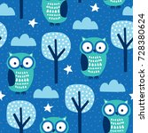 seamless owls in the forest... | Shutterstock .eps vector #728380624