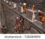 3d illustration of a siege to a medieval castle