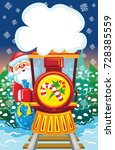 santa goes by train with blue...   Shutterstock .eps vector #728385559
