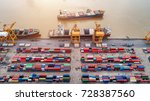 top view of container and crane ...   Shutterstock . vector #728387560