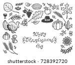 happy thanksgiving day  vector... | Shutterstock .eps vector #728392720