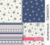 set of seamless winter patterns ... | Shutterstock .eps vector #728400574