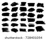 set of black paint  ink brush... | Shutterstock .eps vector #728401054