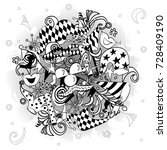 hand drawn party symbols.... | Shutterstock .eps vector #728409190