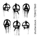 set of current signs of anarchy.... | Shutterstock .eps vector #728417860