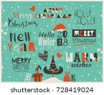 happy new year and merry...   Shutterstock .eps vector #728419024