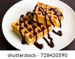 belgian waffles with chocolate... | Shutterstock . vector #728420590