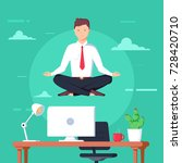 business man meditating in... | Shutterstock .eps vector #728420710
