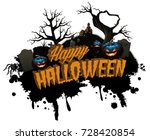 happy halloween isolated title... | Shutterstock .eps vector #728420854