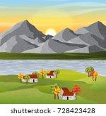 autumn vector landscape with...   Shutterstock .eps vector #728423428