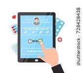 pill reminder apps on computer... | Shutterstock .eps vector #728428438