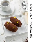 cakes rum ball in a white plate ... | Shutterstock . vector #728428504