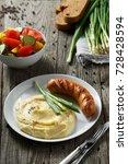 rural dinner. mashed potatoes... | Shutterstock . vector #728428594