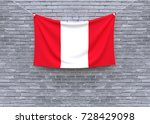 peru flag hanging on brick wall.... | Shutterstock . vector #728429098