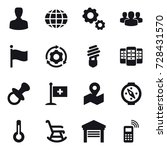 16 vector icon set   man  globe ... | Shutterstock .eps vector #728431570