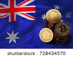 stack of bitcoin coins on... | Shutterstock . vector #728434570