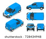 small  van car. isolated... | Shutterstock .eps vector #728434948