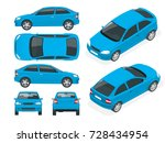 set of sedan cars. isolated... | Shutterstock .eps vector #728434954