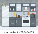 kitchen interior with stove ... | Shutterstock .eps vector #728436799