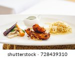 sea food salmon fried herb with ... | Shutterstock . vector #728439310