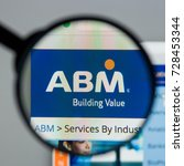 Small photo of Milan, Italy - August 10, 2017: ABM Industries website homepage. It is a facility management provider in the United States. ABM logo visible.