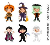 halloween kids character set.... | Shutterstock .eps vector #728454220
