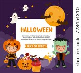 halloween greeting card.... | Shutterstock .eps vector #728454310