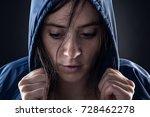 sweaty woman with blue raincoat ... | Shutterstock . vector #728462278