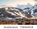 ski runs and city lights above... | Shutterstock . vector #728464018
