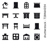16 vector icon set   table lamp ... | Shutterstock .eps vector #728464354
