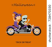 halloween greeting card. witch... | Shutterstock .eps vector #728470330