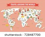 world travel map poster. travel ... | Shutterstock .eps vector #728487700