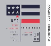 new york flag typography  tee... | Shutterstock .eps vector #728489020