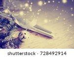 christmas decoration over white ... | Shutterstock . vector #728492914