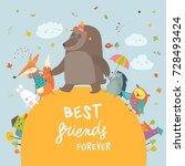 happy animals walking in autumn ... | Shutterstock .eps vector #728493424
