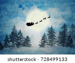 Santa Claus With Sleigh And...
