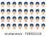 emotions set. a man wearing a... | Shutterstock .eps vector #728502118